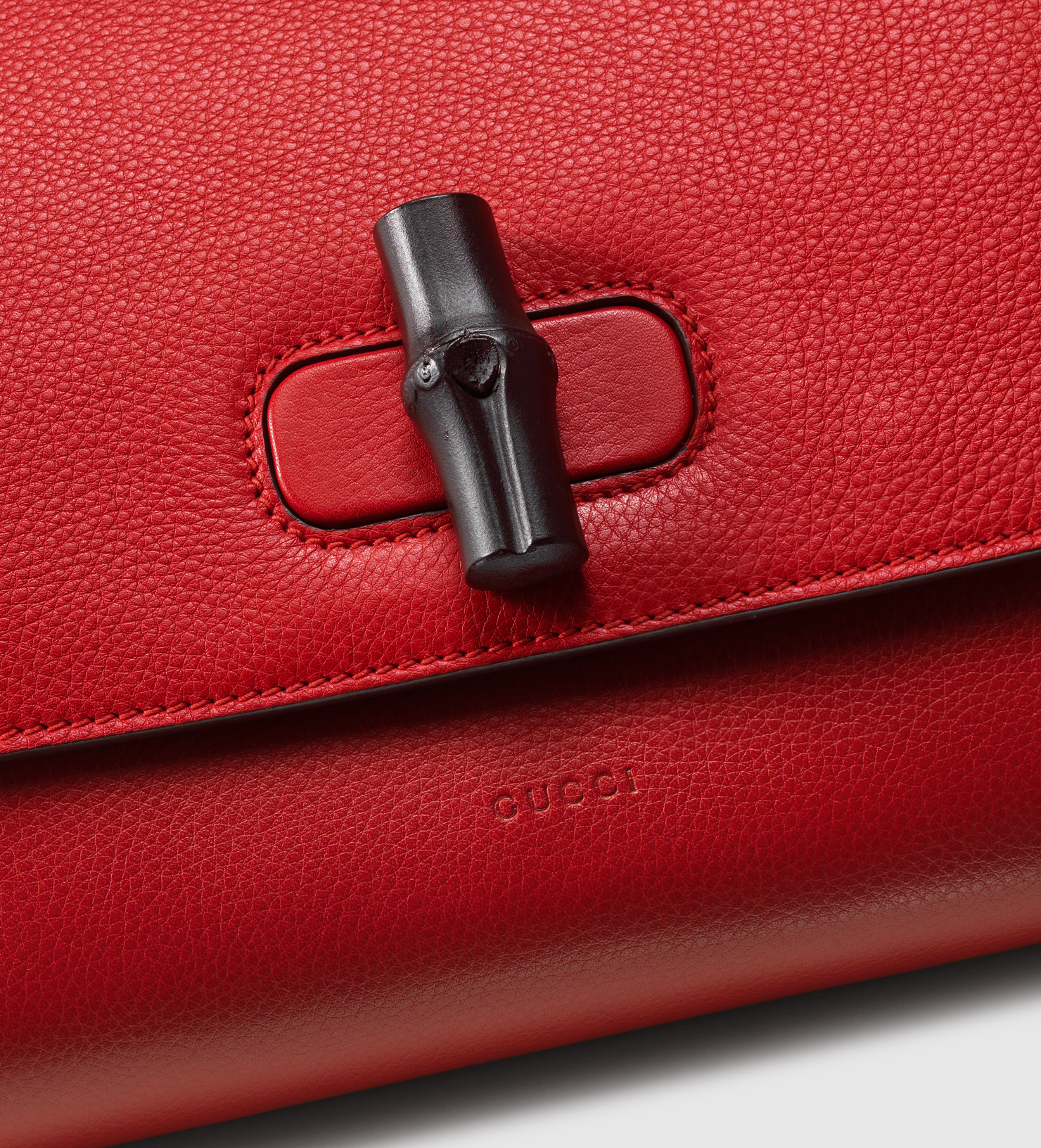 e2e96b7e1ce4 Gucci Bamboo Daily Leather Clutch in Red - Lyst