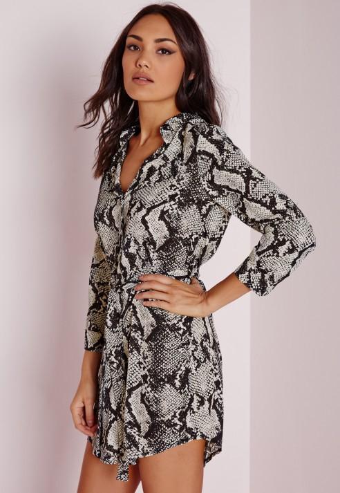 Missguided Long Sleeve Snake Print Shirt Dress Black cream - Lyst d35600c33a9