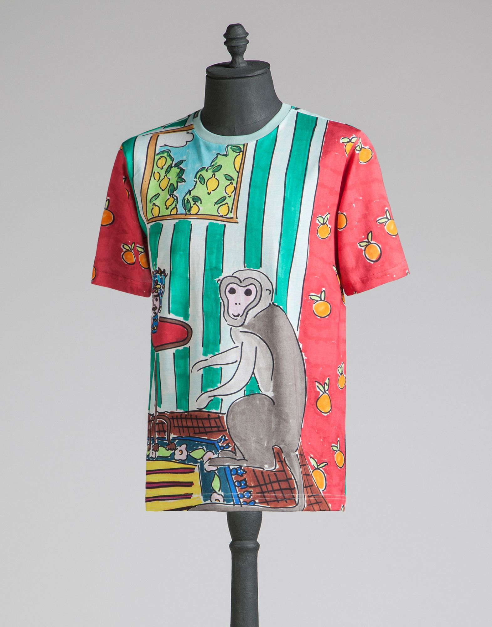 Dolce gabbana t shirt with free hand drawing print in for Dolce and gabbana printed t shirts