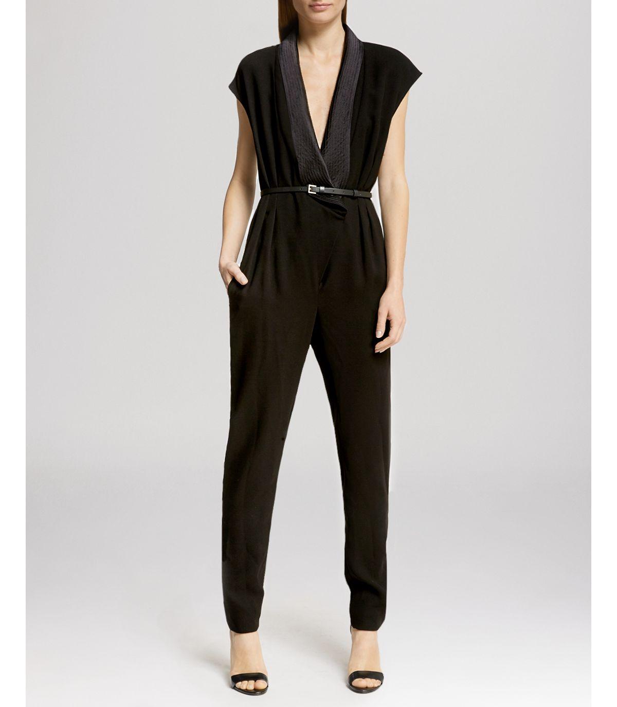 60b2a22bde7 Lyst - Halston Jumpsuit - Cap Sleeve V-neck in Black