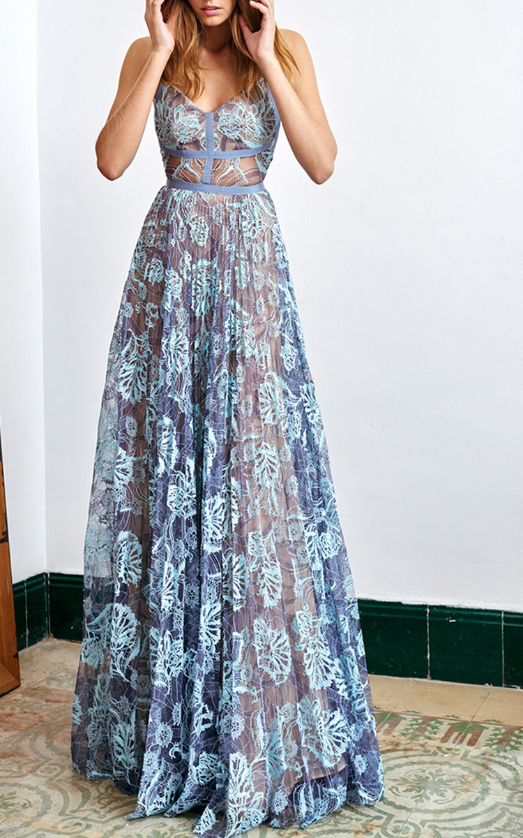Alexis Isabella Lace Gown in Blue | Lyst