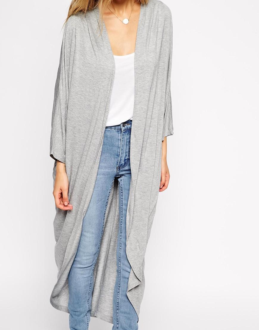 Asos Jersey Maxi Kimono in Gray | Lyst