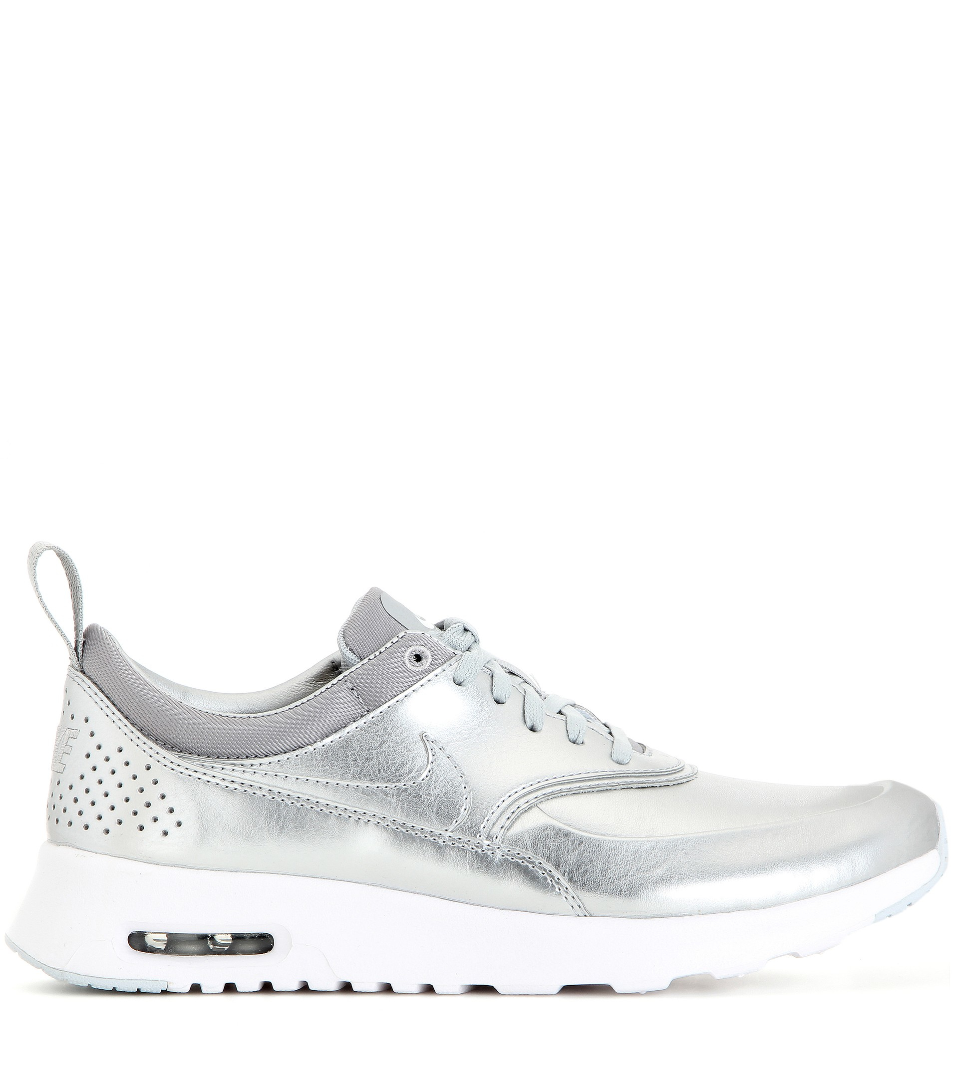 nike air max thea metallic silver sneakers in metallic lyst. Black Bedroom Furniture Sets. Home Design Ideas