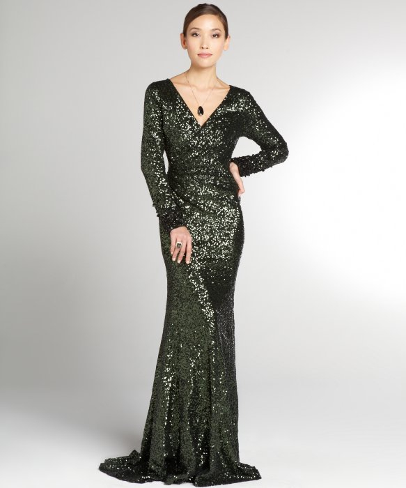 Badgley mischka Emerald Sequin Long Sleeve Gown in Green | Lyst