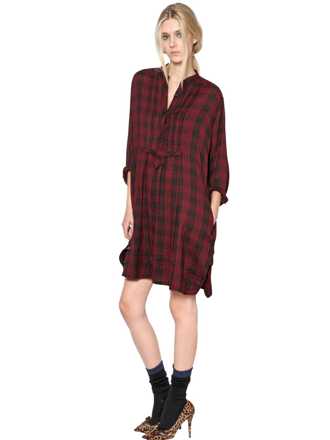 Lyst toile isabel marant cotton flannel shirt dress in red for Isabel marant shirt dress