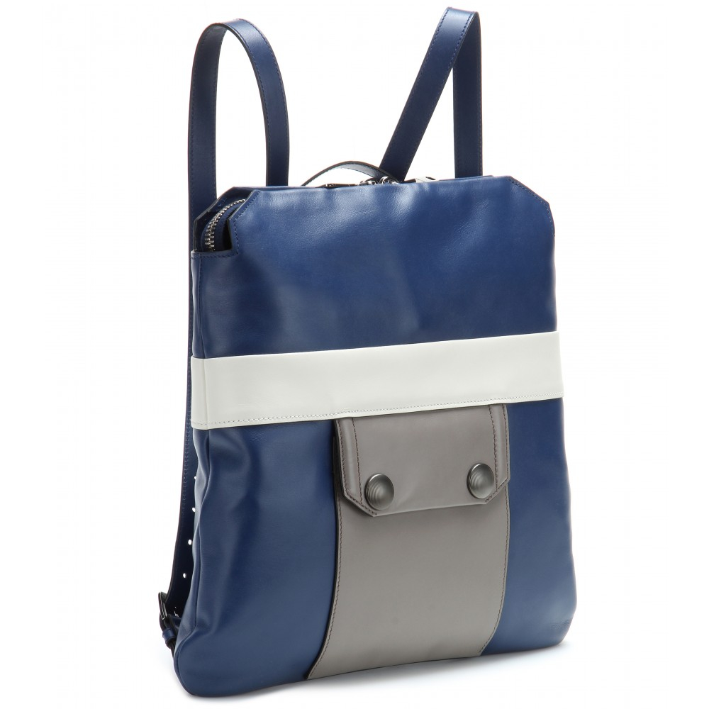Miu Leather Backpack In Blue Lyst
