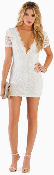 Tobi Vdara Lace Bodycon Dress In White Ivory Lyst