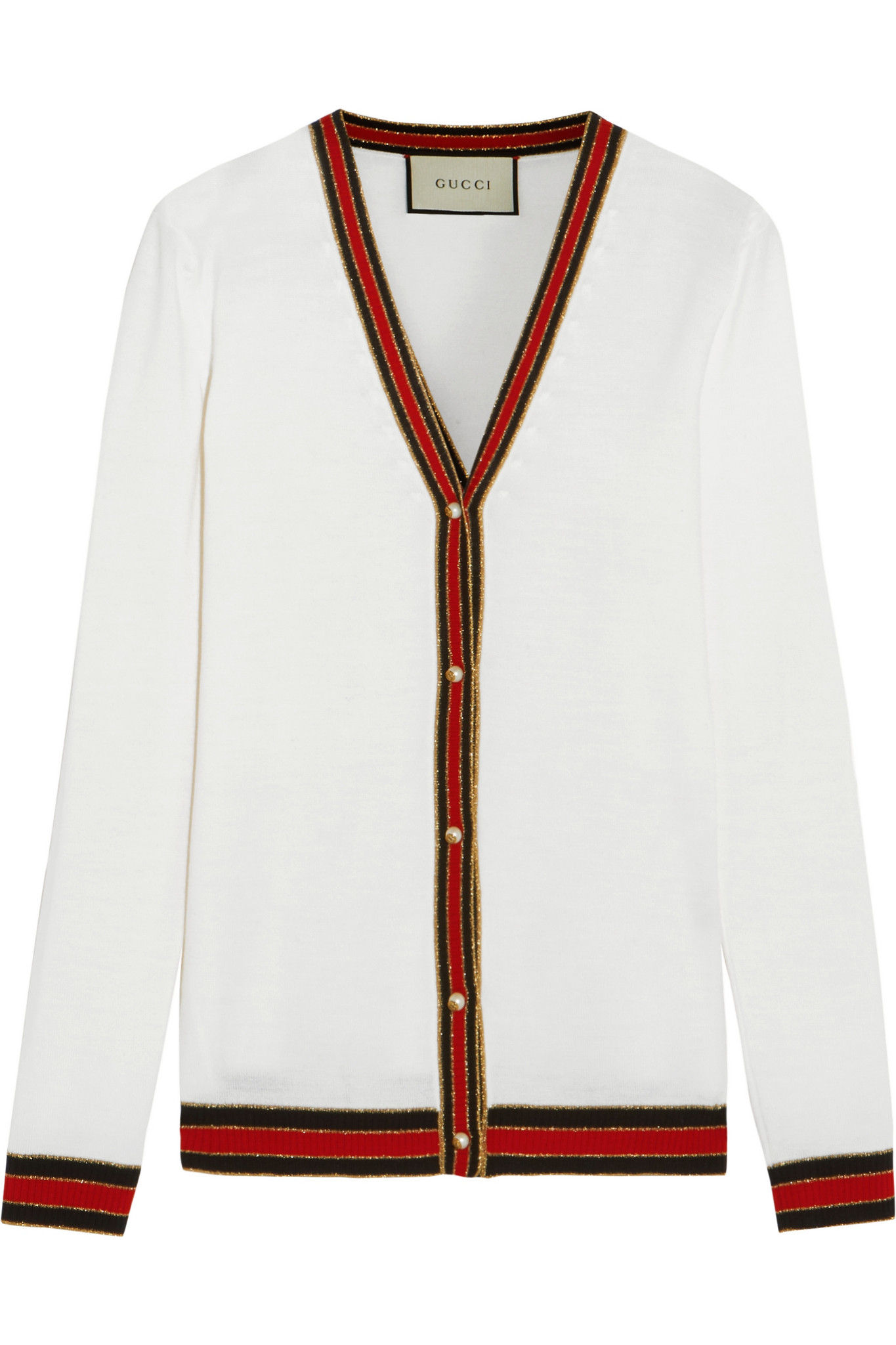 5af9115e225 Lyst - Gucci Striped Wool Cardigan in White