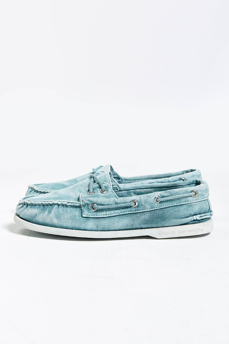 Sperry Top-sider Authentic Original 2-Eye Washed Canvas Boat Shoe In Blue For Men | Lyst