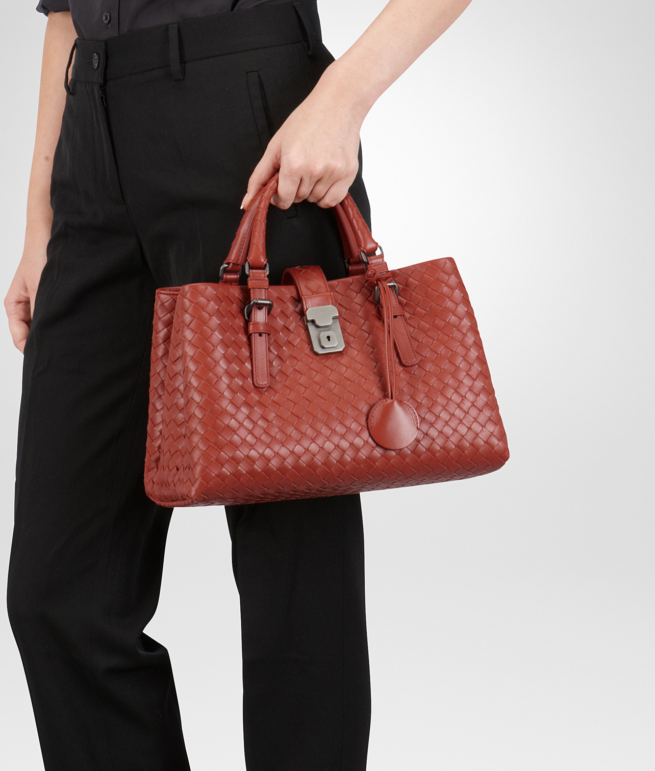 a8e4f189fef1 Lyst - Bottega Veneta Burnt Red Intrecciato Light Calf Roma Bag in Red