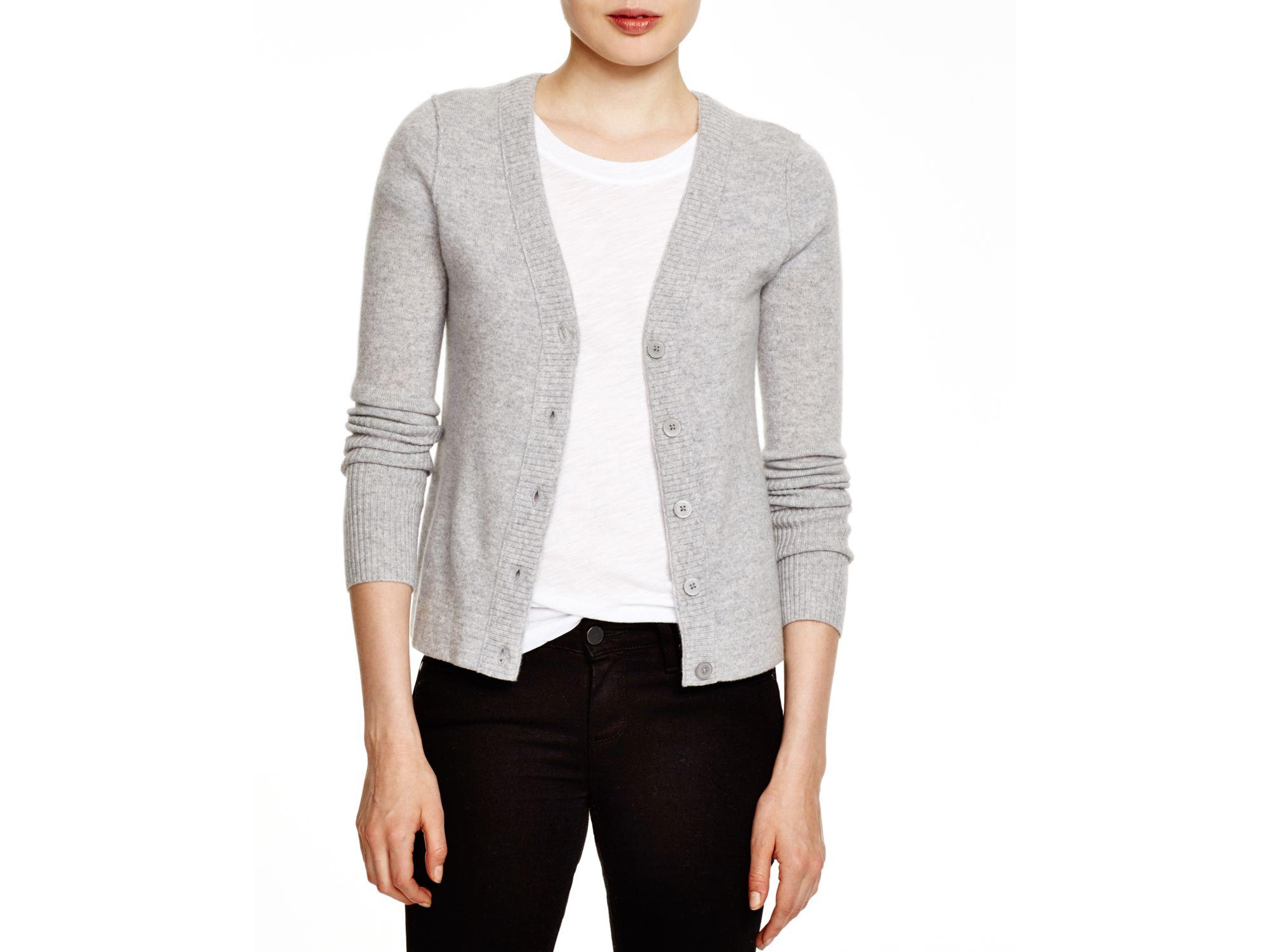 Aqua Cashmere Cashmere V-neck Cardigan in Gray | Lyst