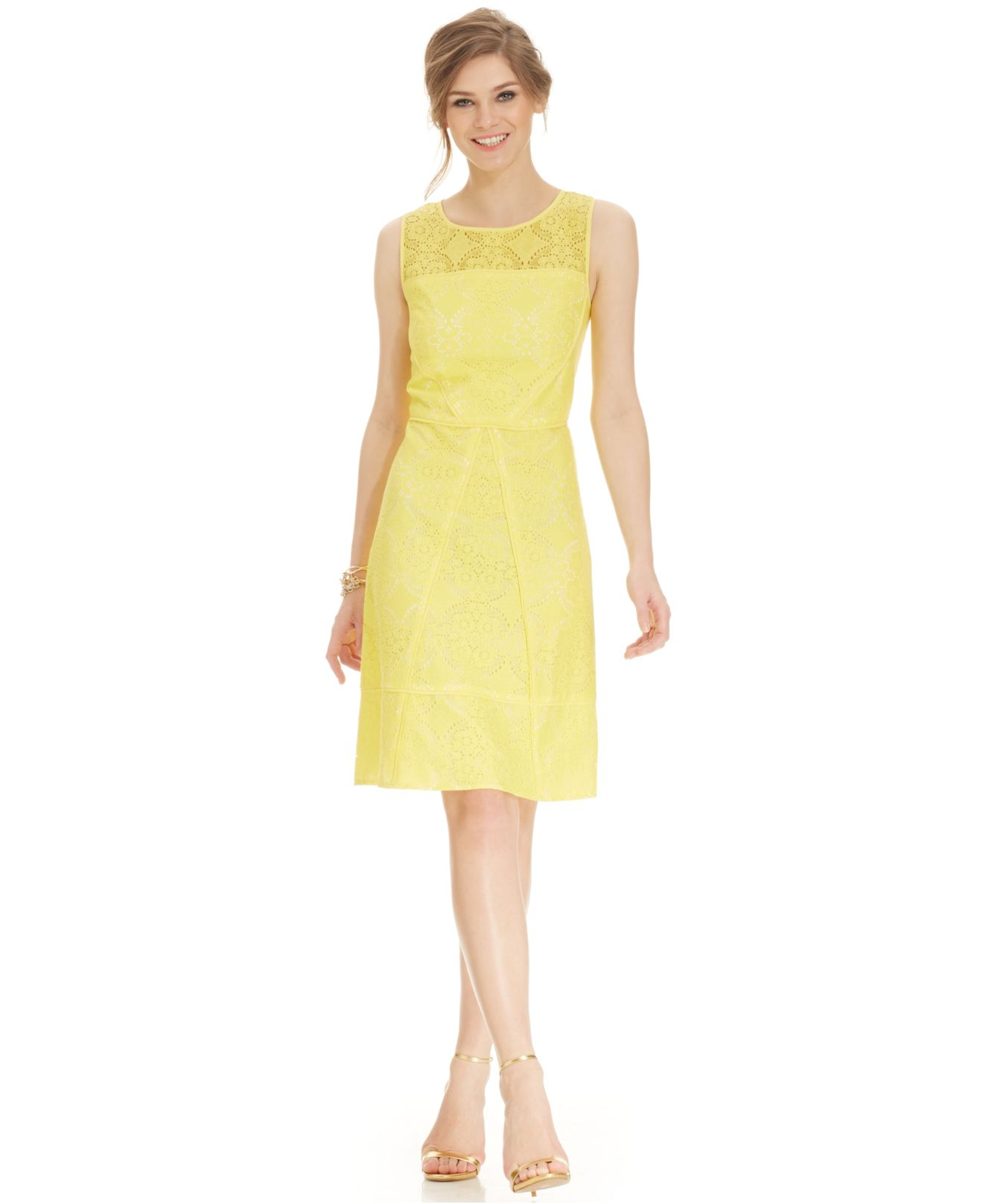 Lyst - Adrianna Papell Sleeveless Illusion-Yoke Lace Dress in Yellow