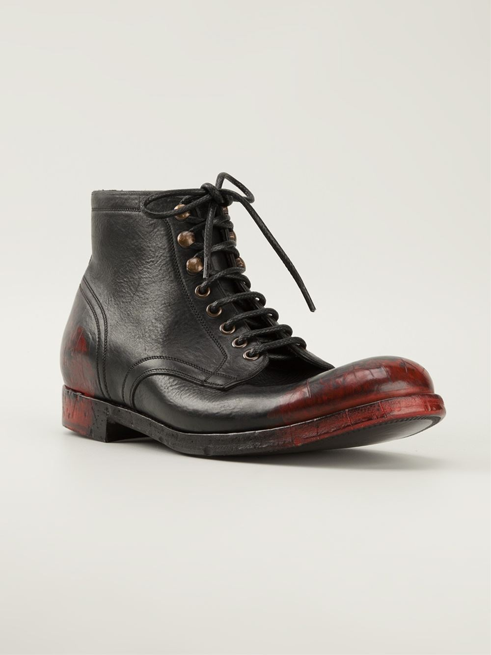 dolce gabbana lace up boots in black for lyst