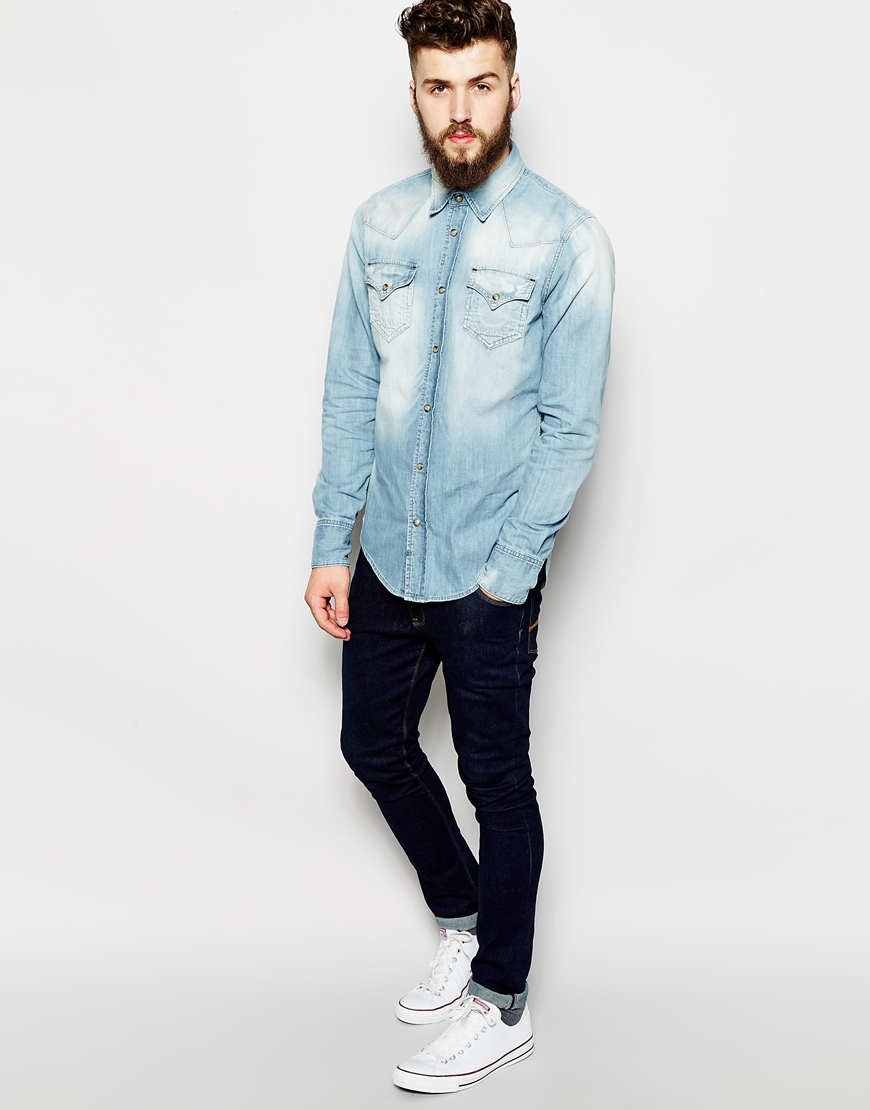 True religion Denim Shirt Jake Slim Fit Western Light Indigo in Blue for Men | Lyst