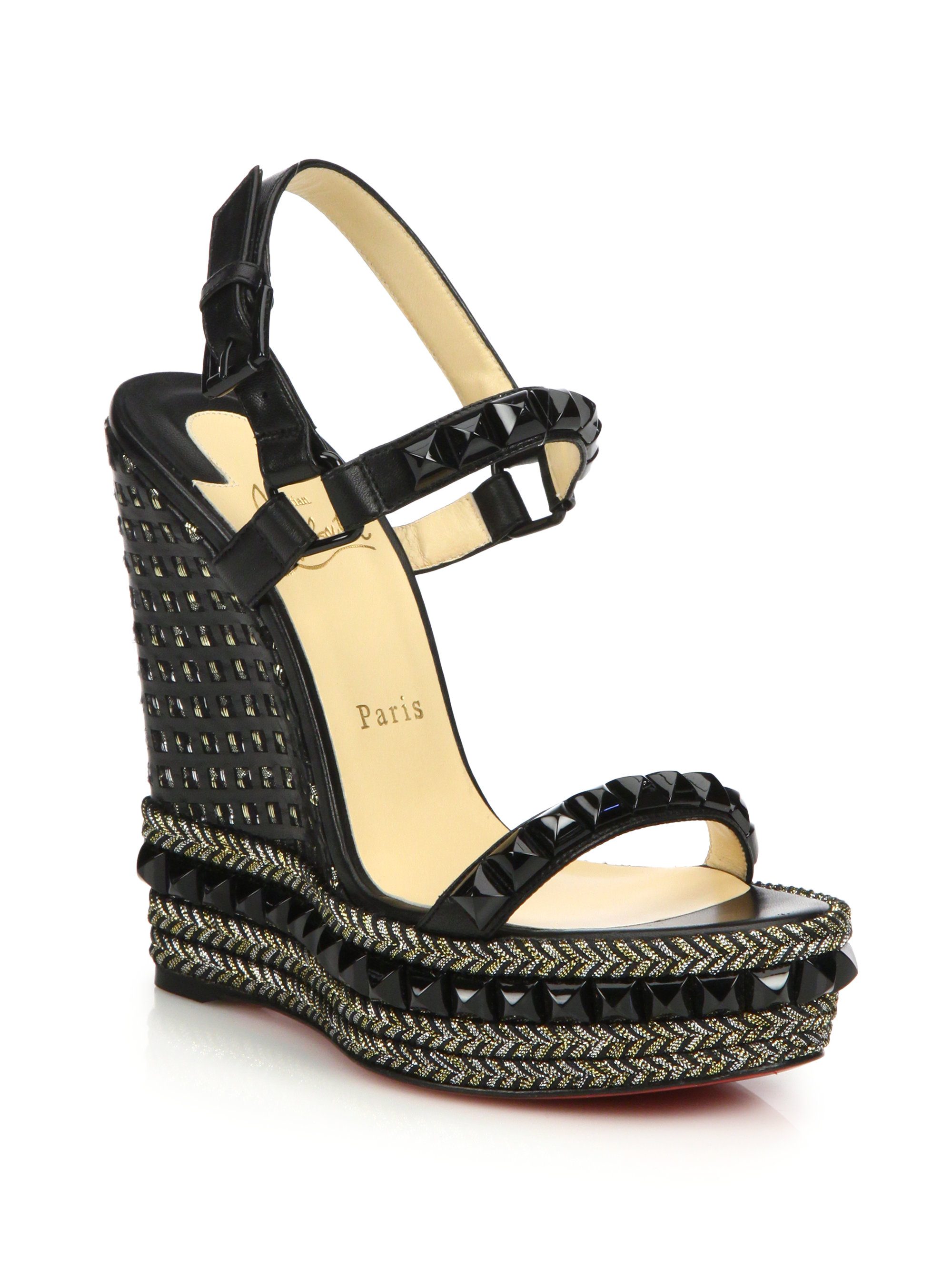louis vuitton knock off shoes - Christian louboutin Cataclou Studded Leather Espadrille Wedge ...