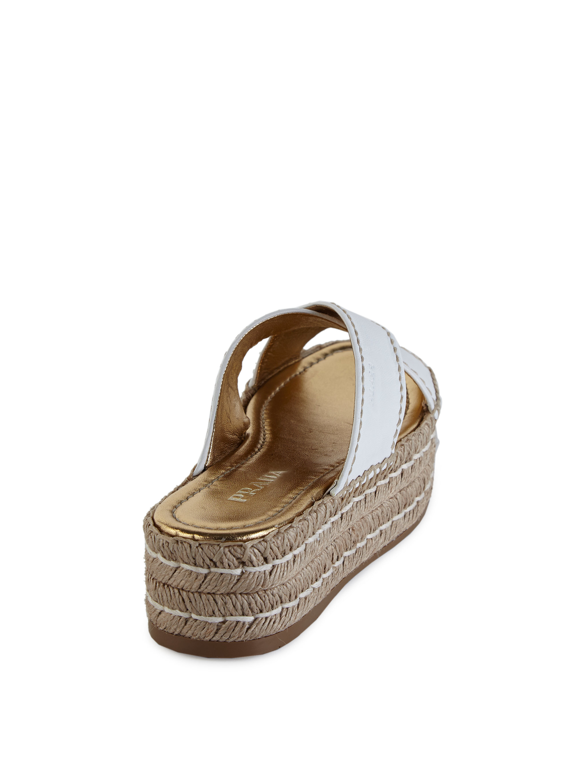 prada pouch sale - Prada Leather Double Platform Espadrille Slide Sandals in Natural ...