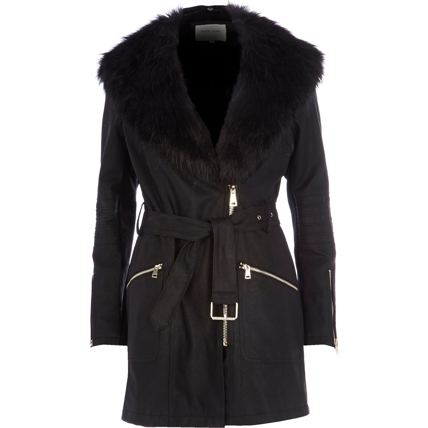 River Island Black Faux Fur Collar Leather Look Jacket In