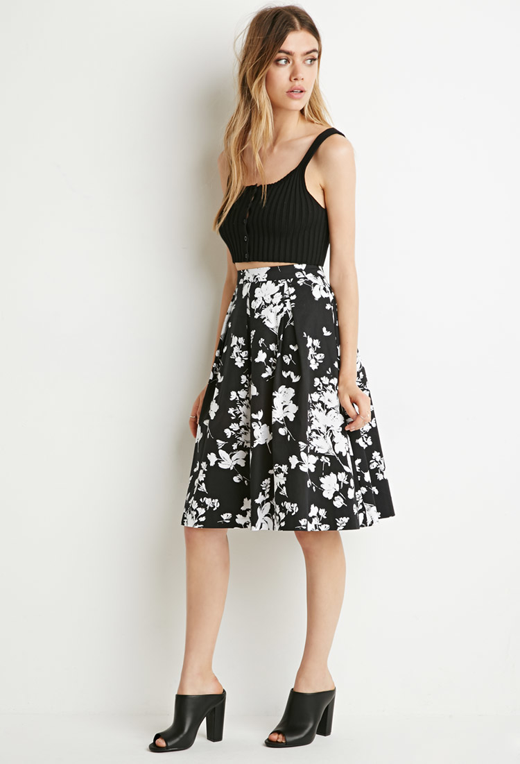1b3c55f7ff624b Forever 21 Floral A-line Skirt in Black - Lyst