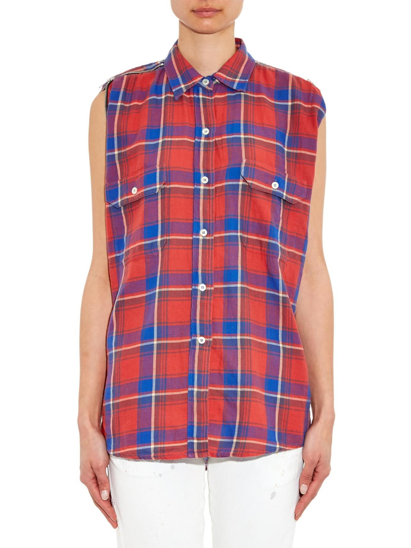 lyst r13 zip detail plaid cotton shirt in blue. Black Bedroom Furniture Sets. Home Design Ideas