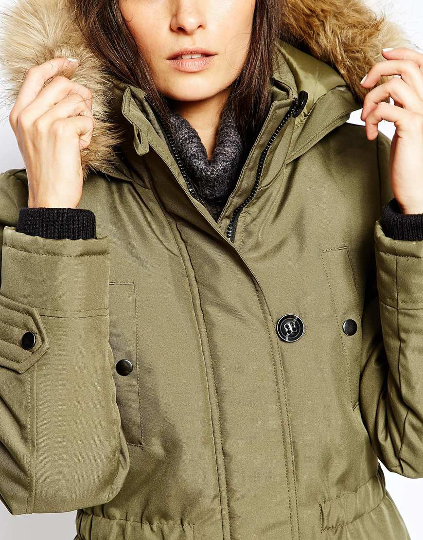 Lyst - Vero Moda Parka With Faux Fur Hood in Green bc24bfc22bf7