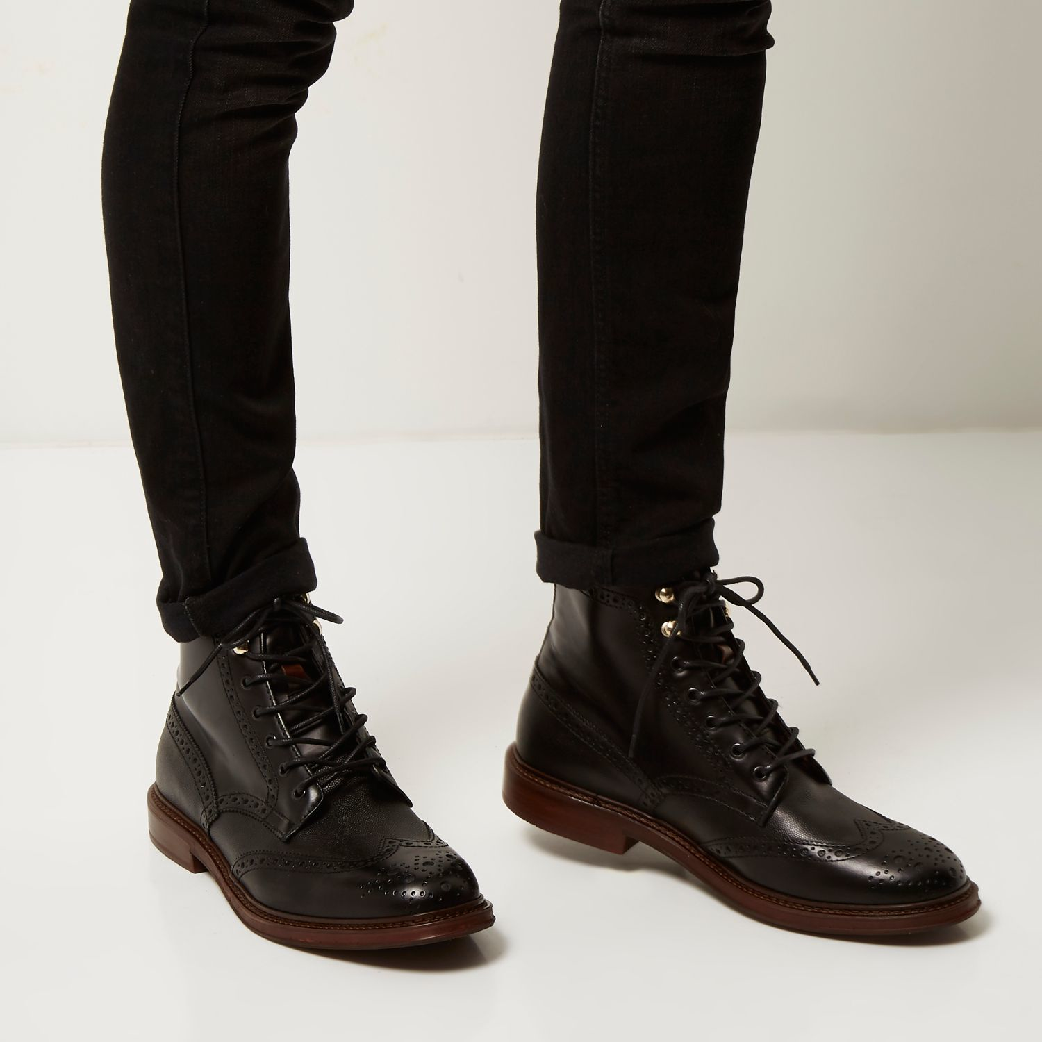 river island black leather lace up wingtip boots in black