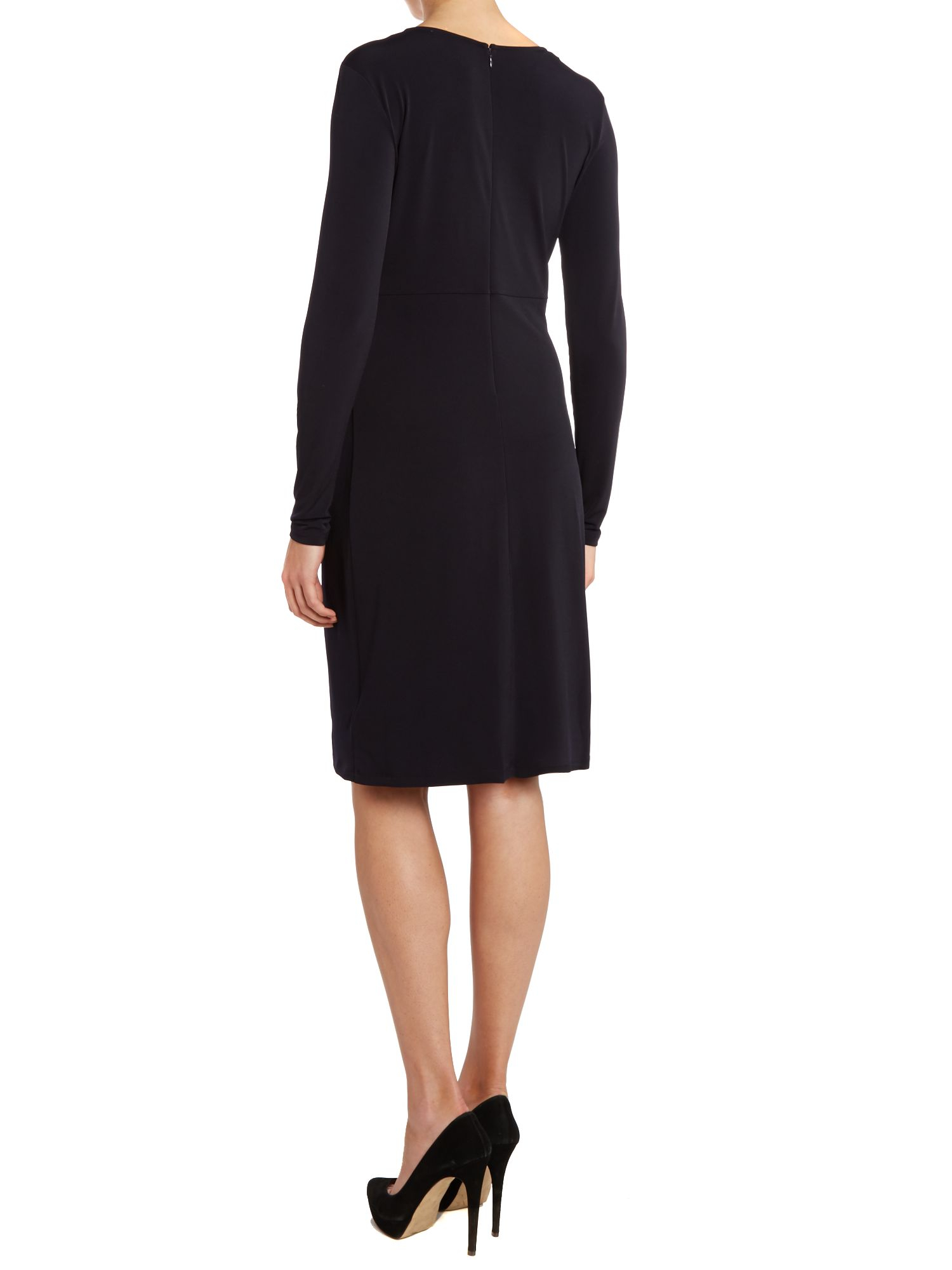 Michael Kors Pleated Front Dress With Buckle Detail In