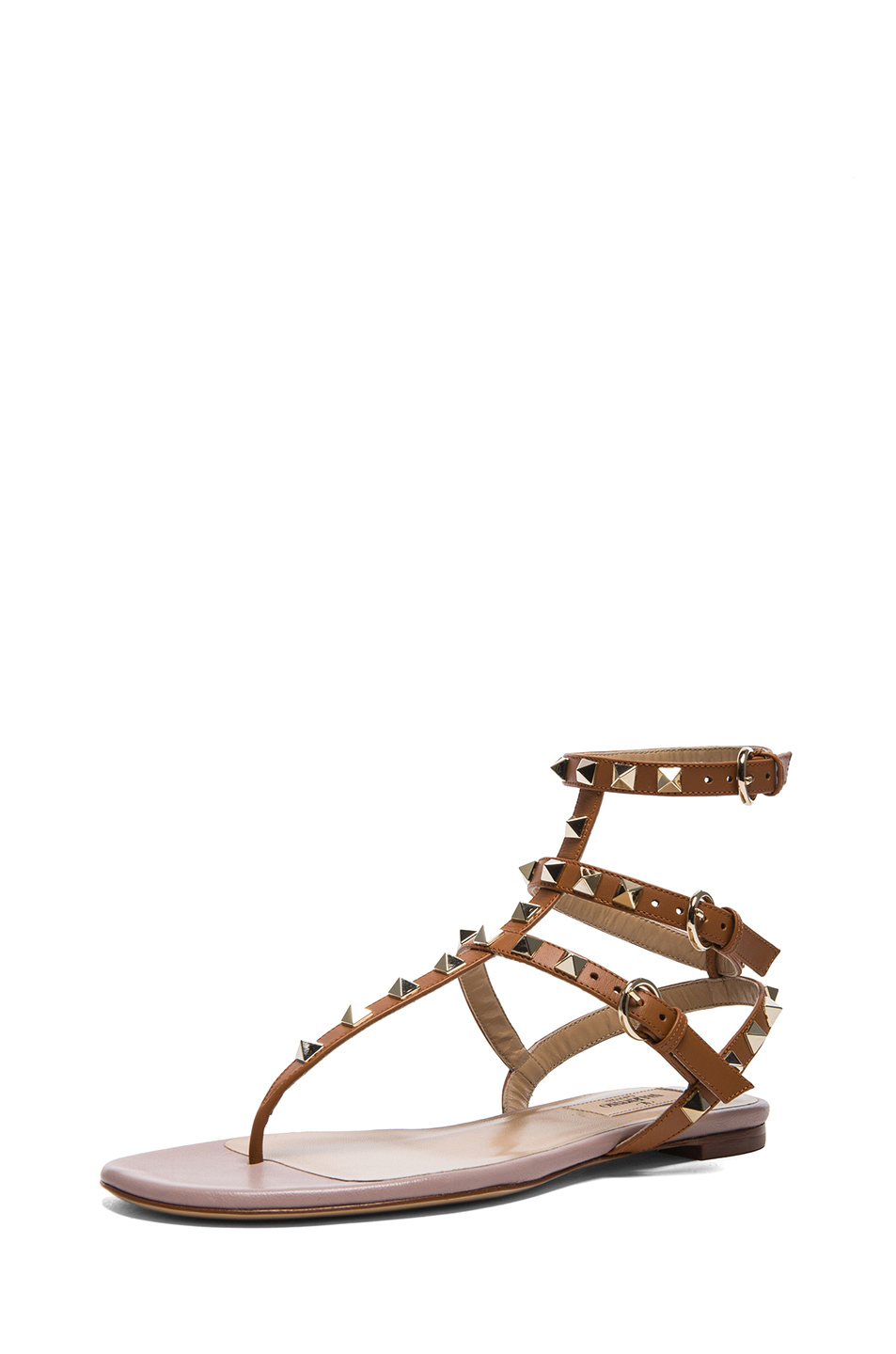 c7f5f2dab6a Lyst - Valentino Rockstud Leather Cage Sandals in Brown