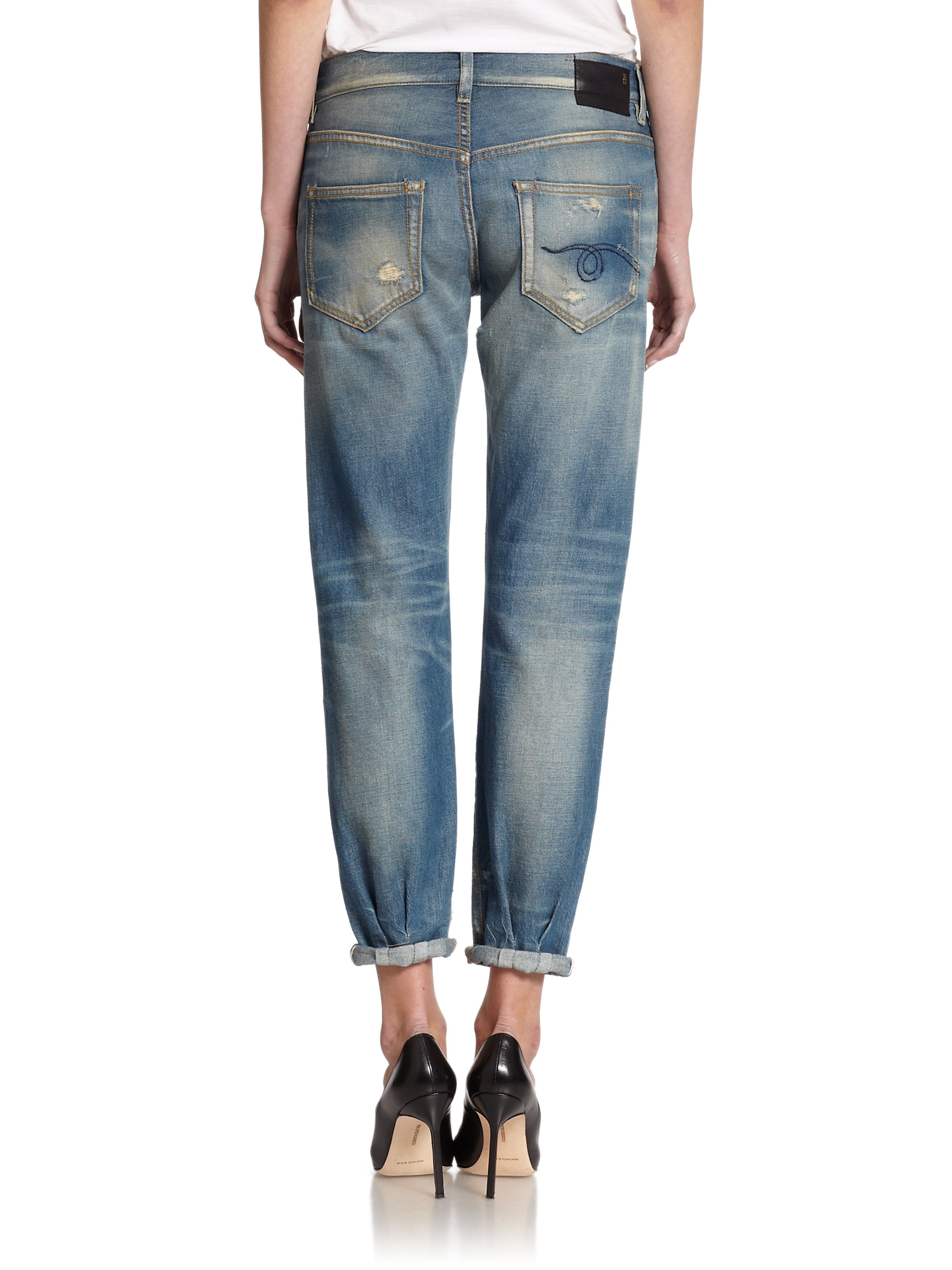 d37683a03ad369 R13 Distressed Relaxed Skinny Jeans in Blue - Lyst