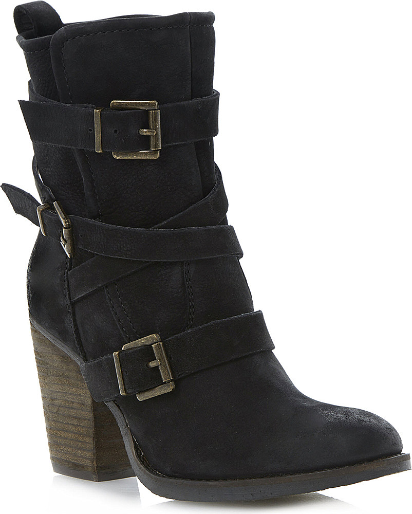 steve madden black yale heeled buckle ankle boots lyst