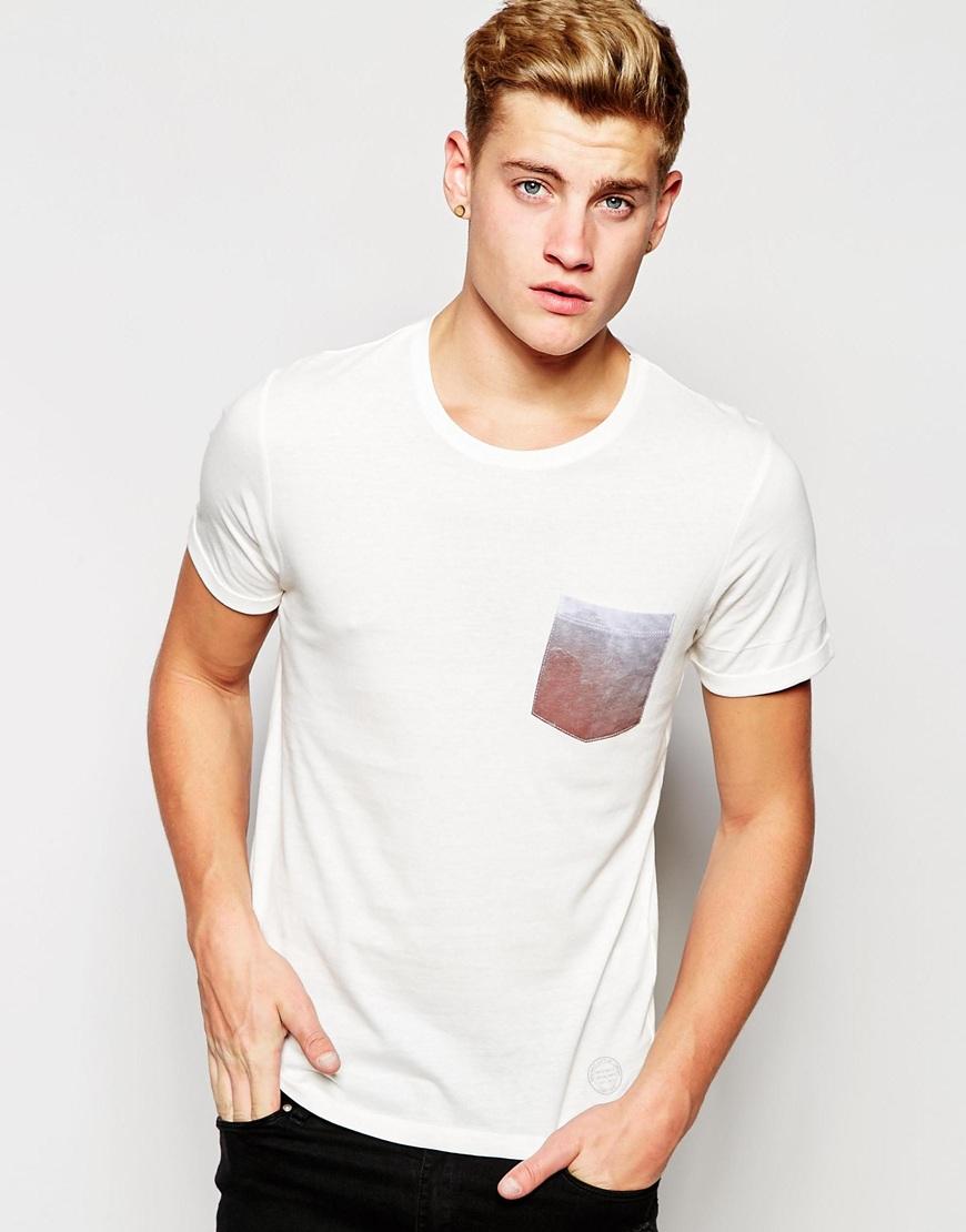 lyst jack jones longline t shirt with contrast printed. Black Bedroom Furniture Sets. Home Design Ideas