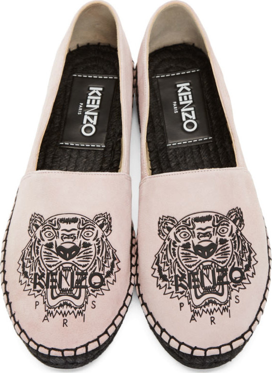3259b702d7a KENZO Pink Suede Tiger Espadrilles in Pink - Lyst