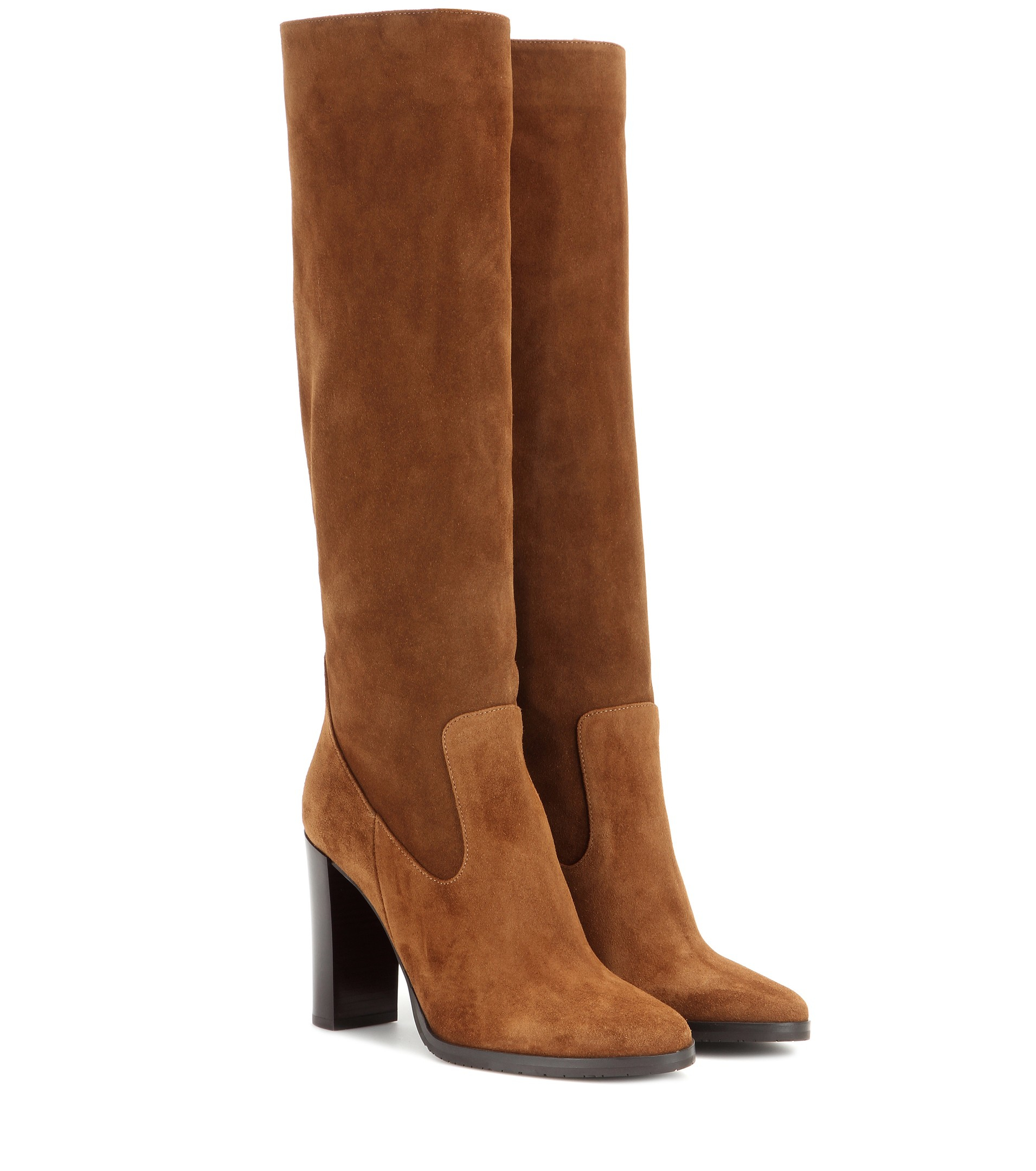 a580abc4c9717 Lyst - Jimmy Choo Honor 95 Suede Knee-High Boots in Brown