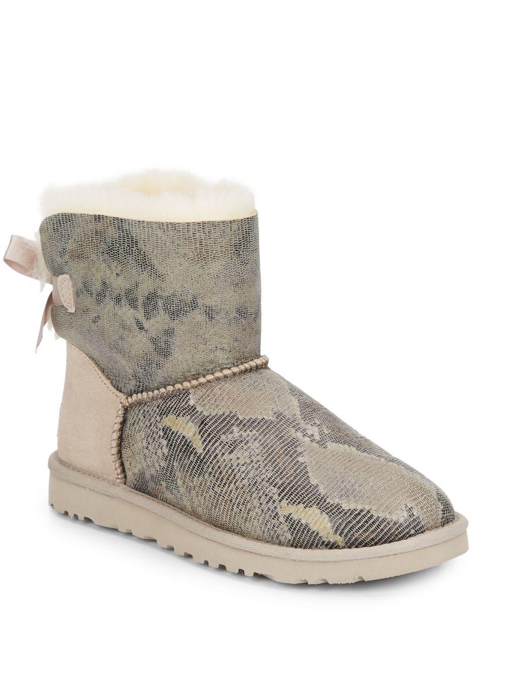 ugg womens classic mini snake boots metallic