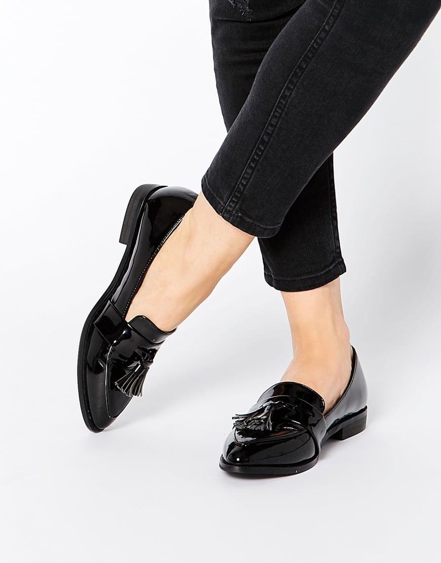 Daisy Street Black Patent Tassel Flat Loafer Shoes In
