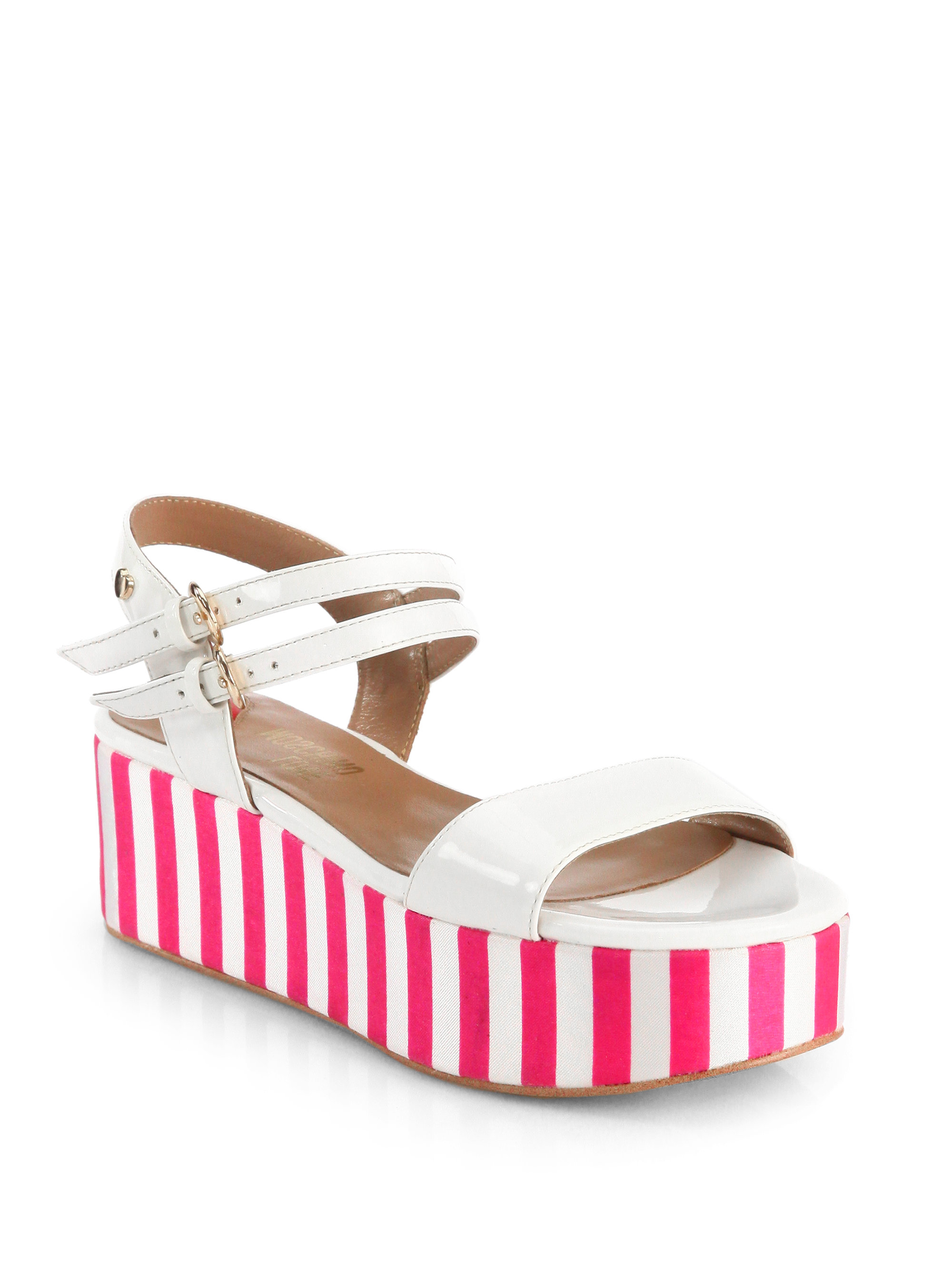 25439954012 Lyst - Love Moschino Patent Leather Striped Platform Sandals in Pink