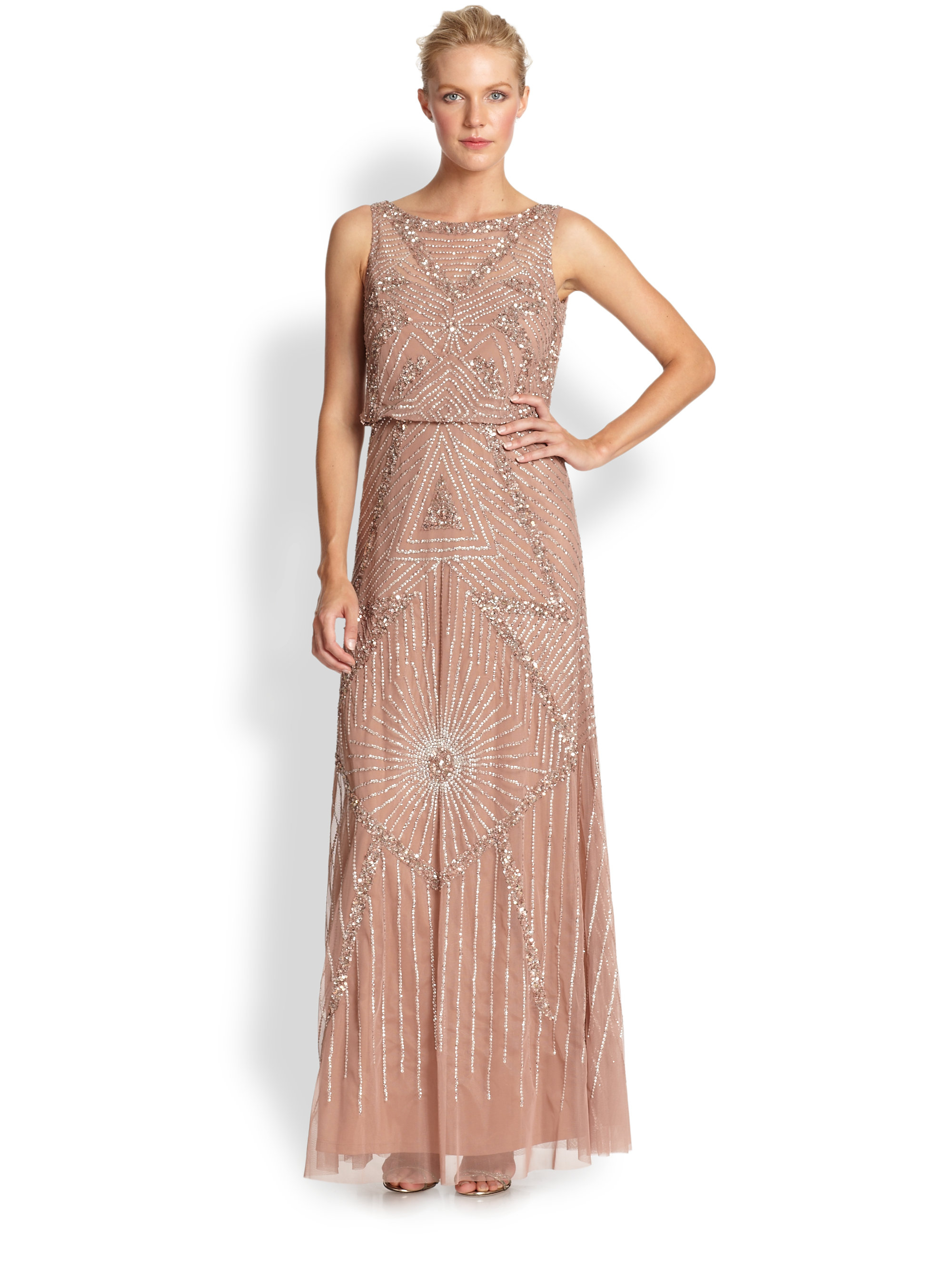 Lyst - Aidan Mattox Beaded Gown in Pink