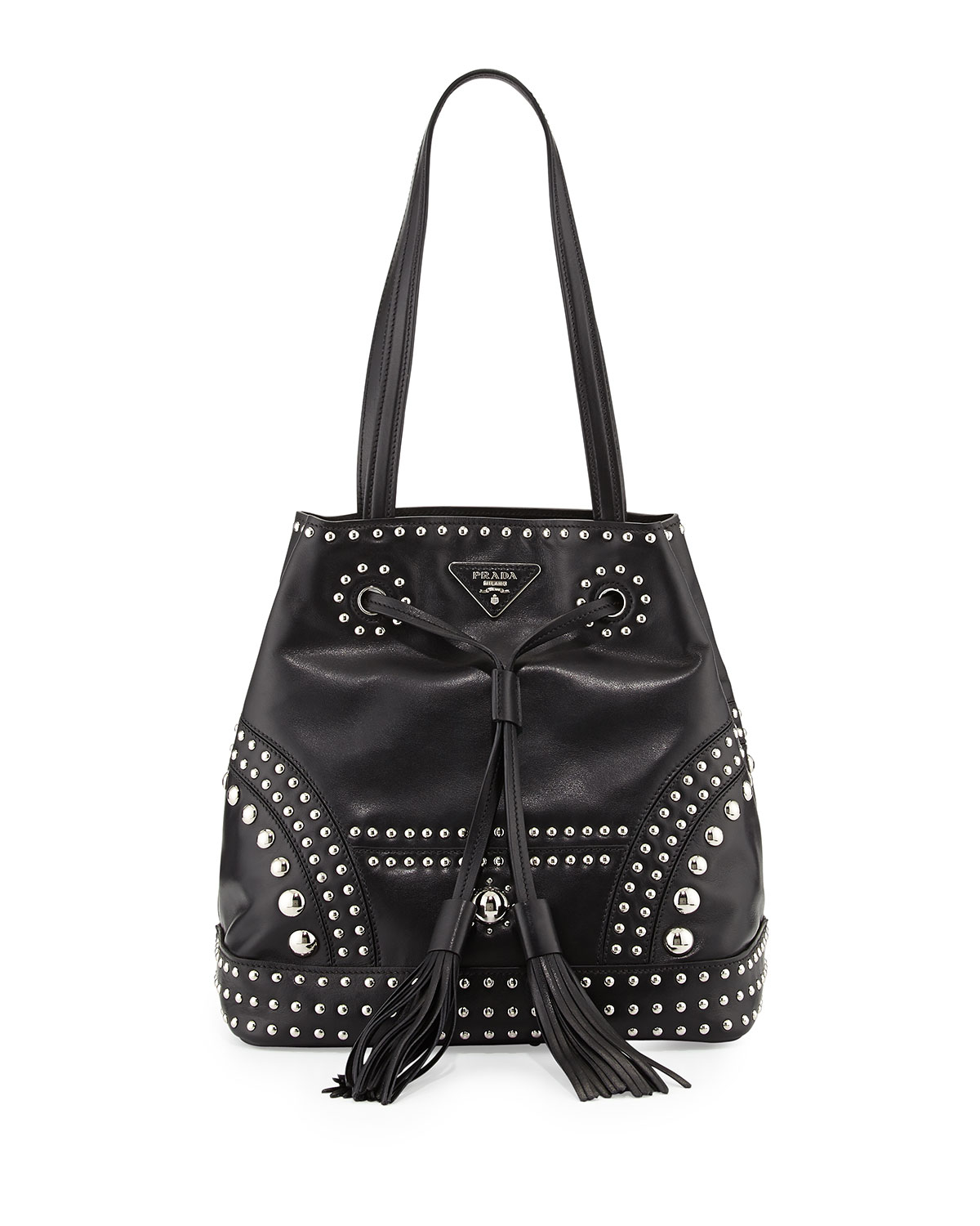 117e14375322 Lyst - Prada Soft Calf Large Studded Bucket Bag in Black
