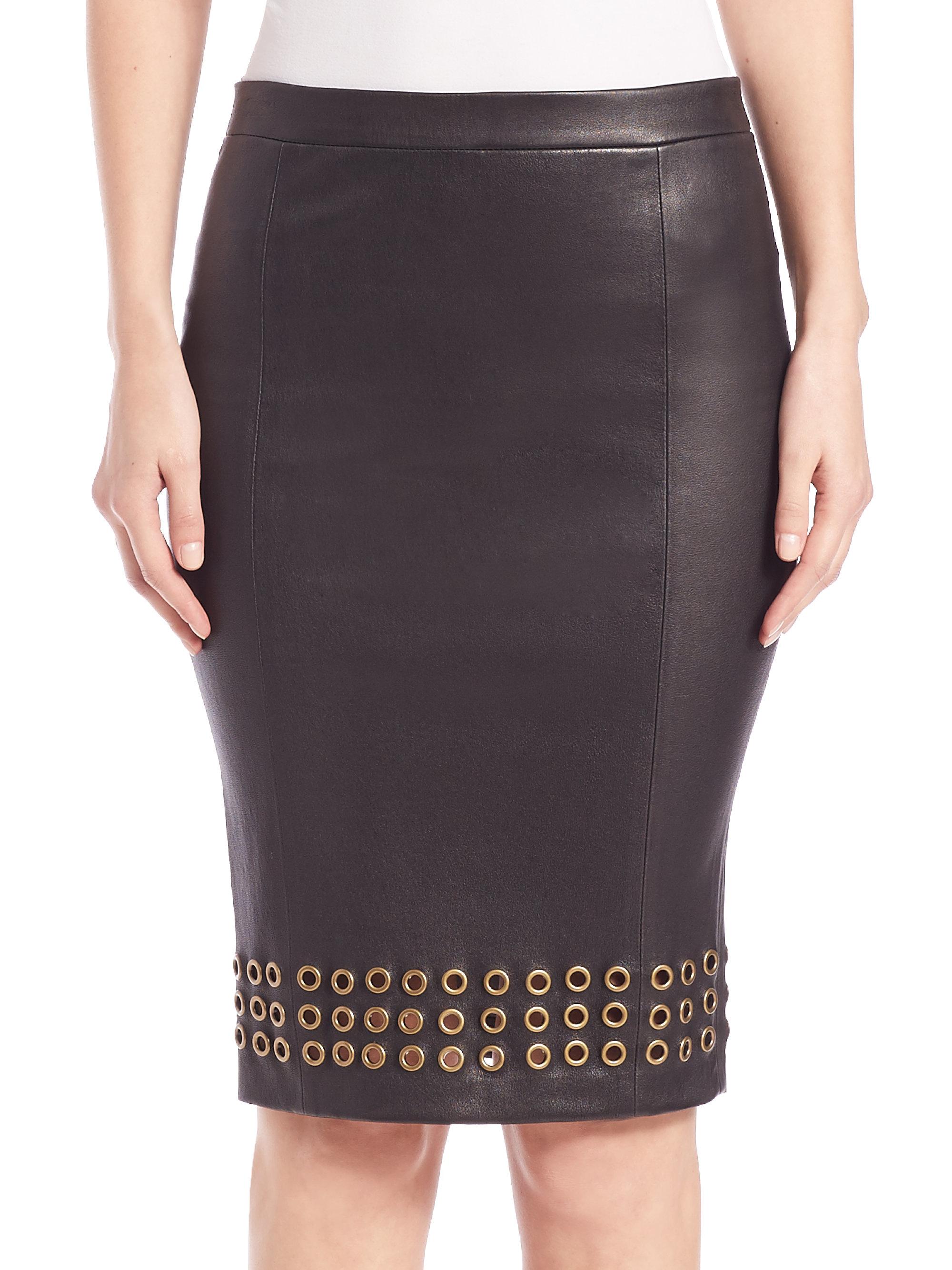 j brand wilda grommet trim leather pencil skirt in black