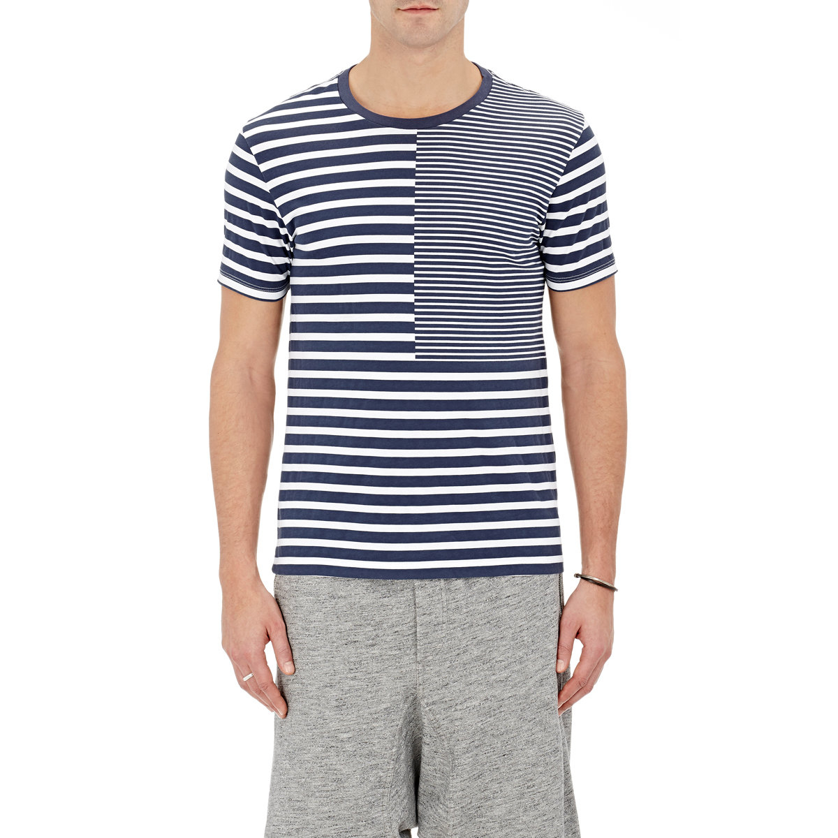 Lyst barneys new york men 39 s mixed stripe t shirt in blue for New york and company dress shirts