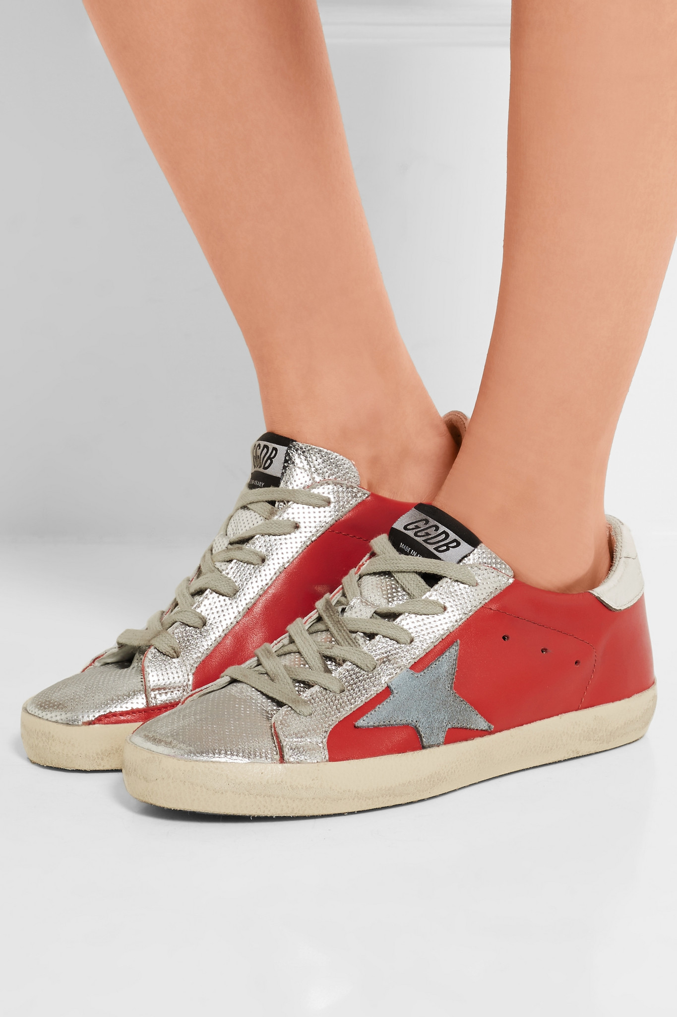 b1262a6c7f07 Golden Goose Deluxe Brand Super Star Metallic Distressed Leather ...