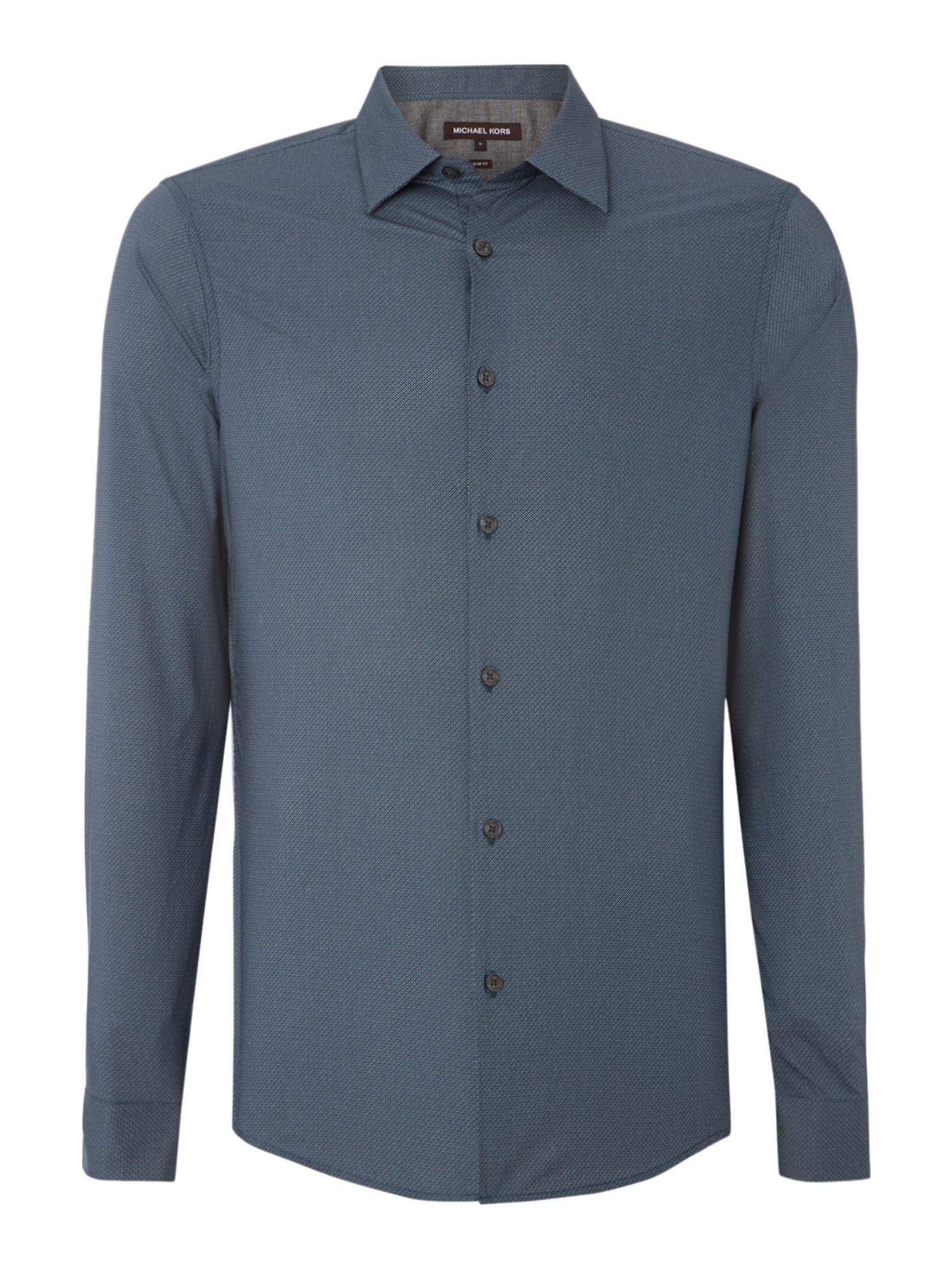 Michael Kors Pattern Slim Fit Long Sleeve Button Down