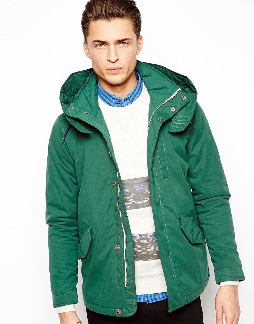 Pull&bear Parka Jacket in Green for Men   Lyst