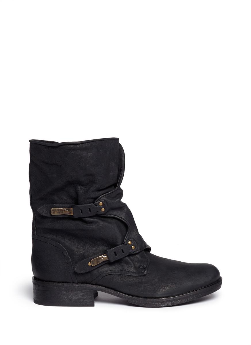5f69092bb2cd Lyst - Sam Edelman  ridge  Latch Strap Leather Boots in Black