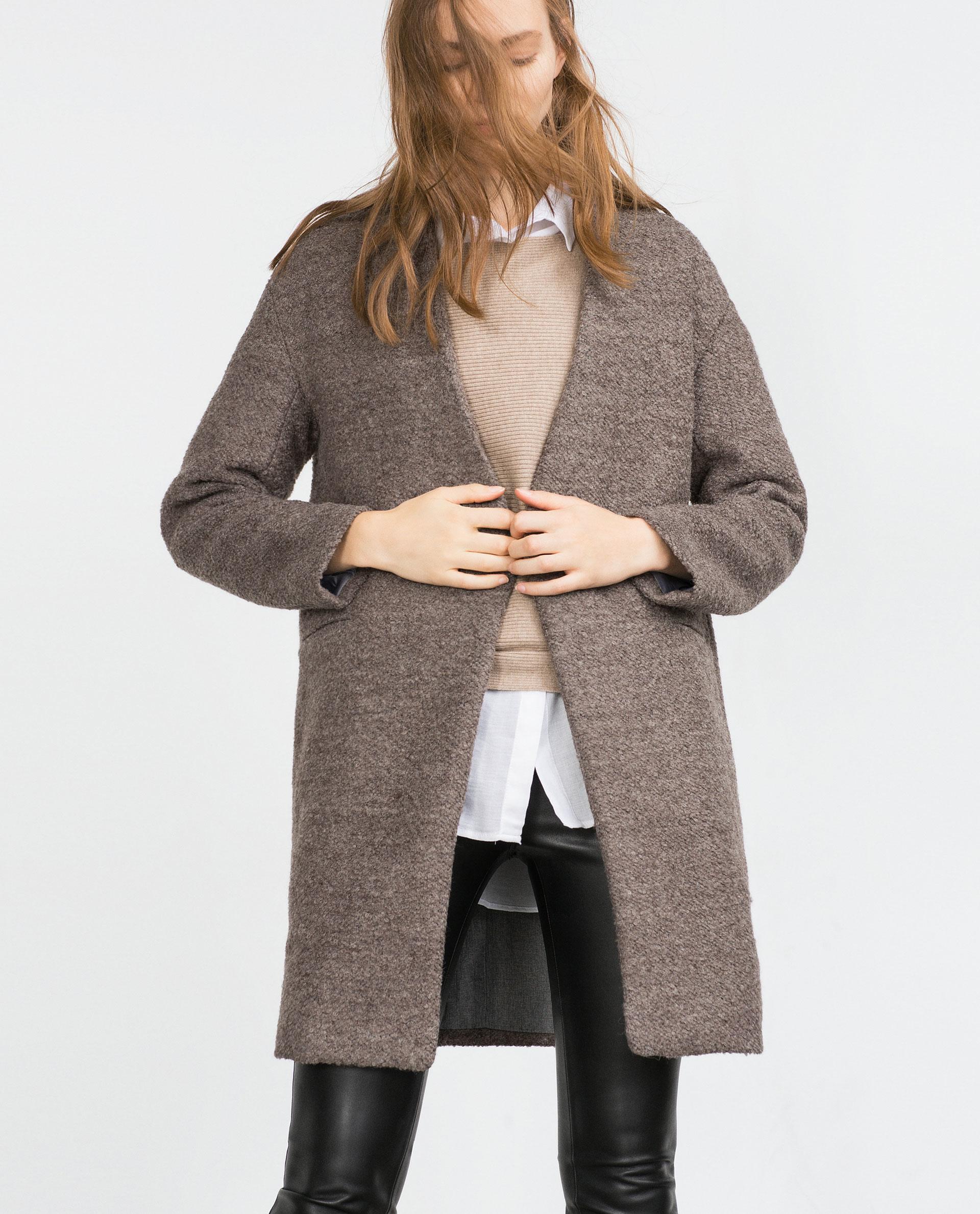Zara Bouclé Wool Coat in Brown | Lyst