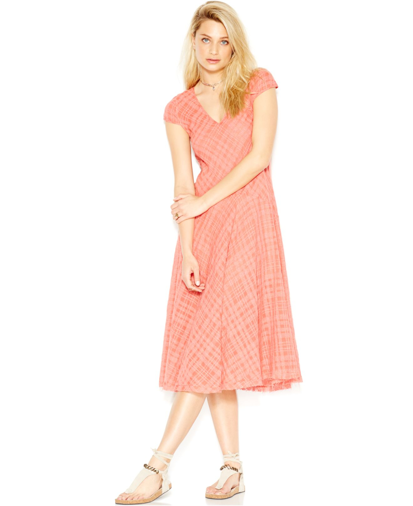 Free people Priscilla Plaid A-Line Midi Dress in Pink   Lyst