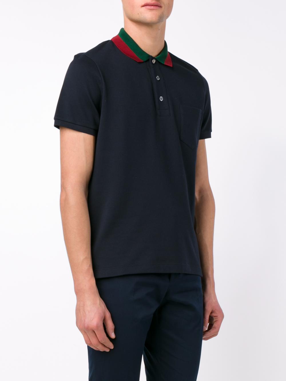 c72e97cca504 Lyst - Gucci Striped Collar Polo T-shirt in Blue for Men
