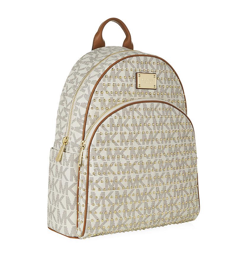 michael michael kors large jet set studded backpack in natural lyst. Black Bedroom Furniture Sets. Home Design Ideas