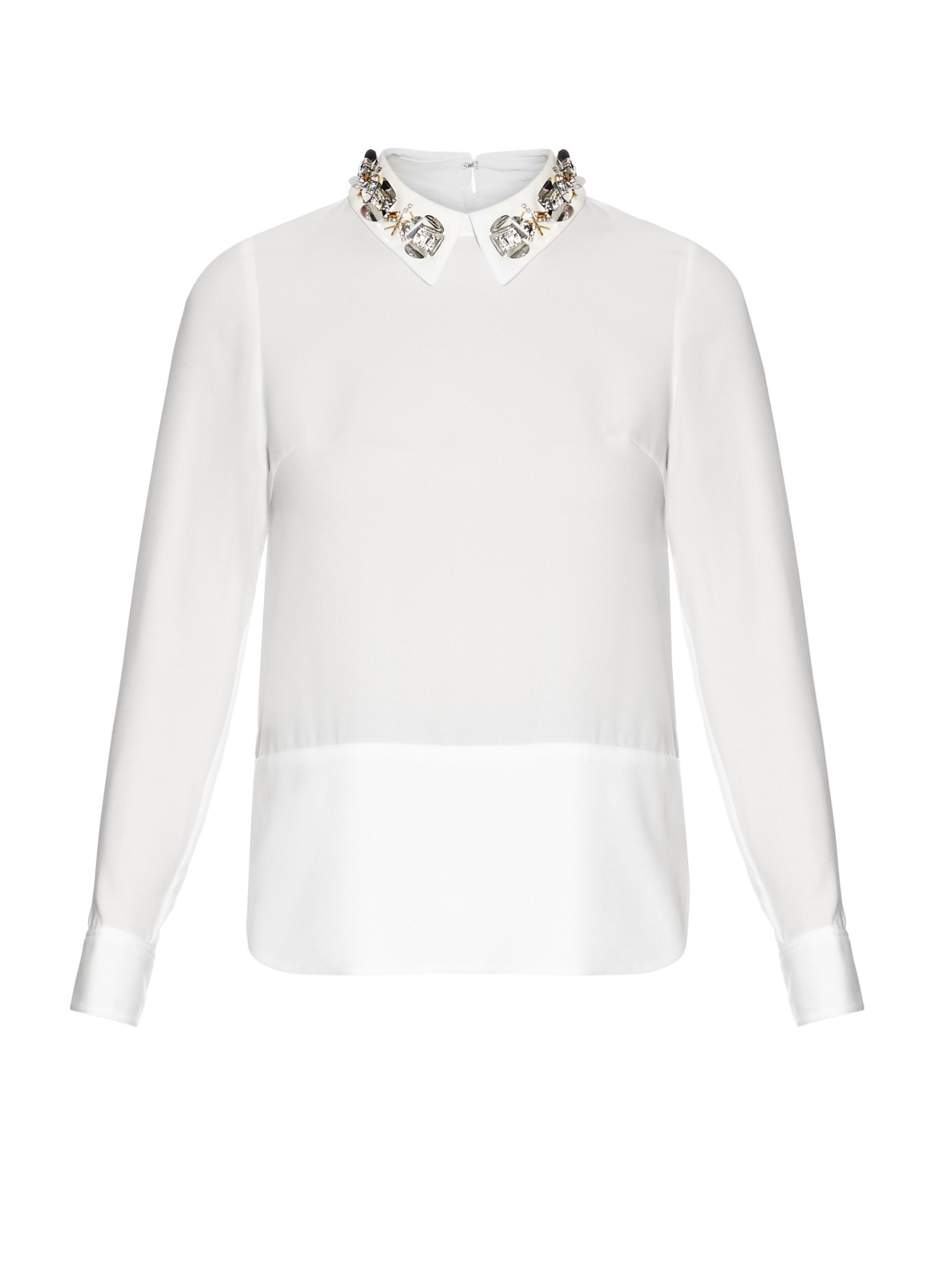 Muveil Embellished-collar Long-sleeved Blouse in White | Lyst