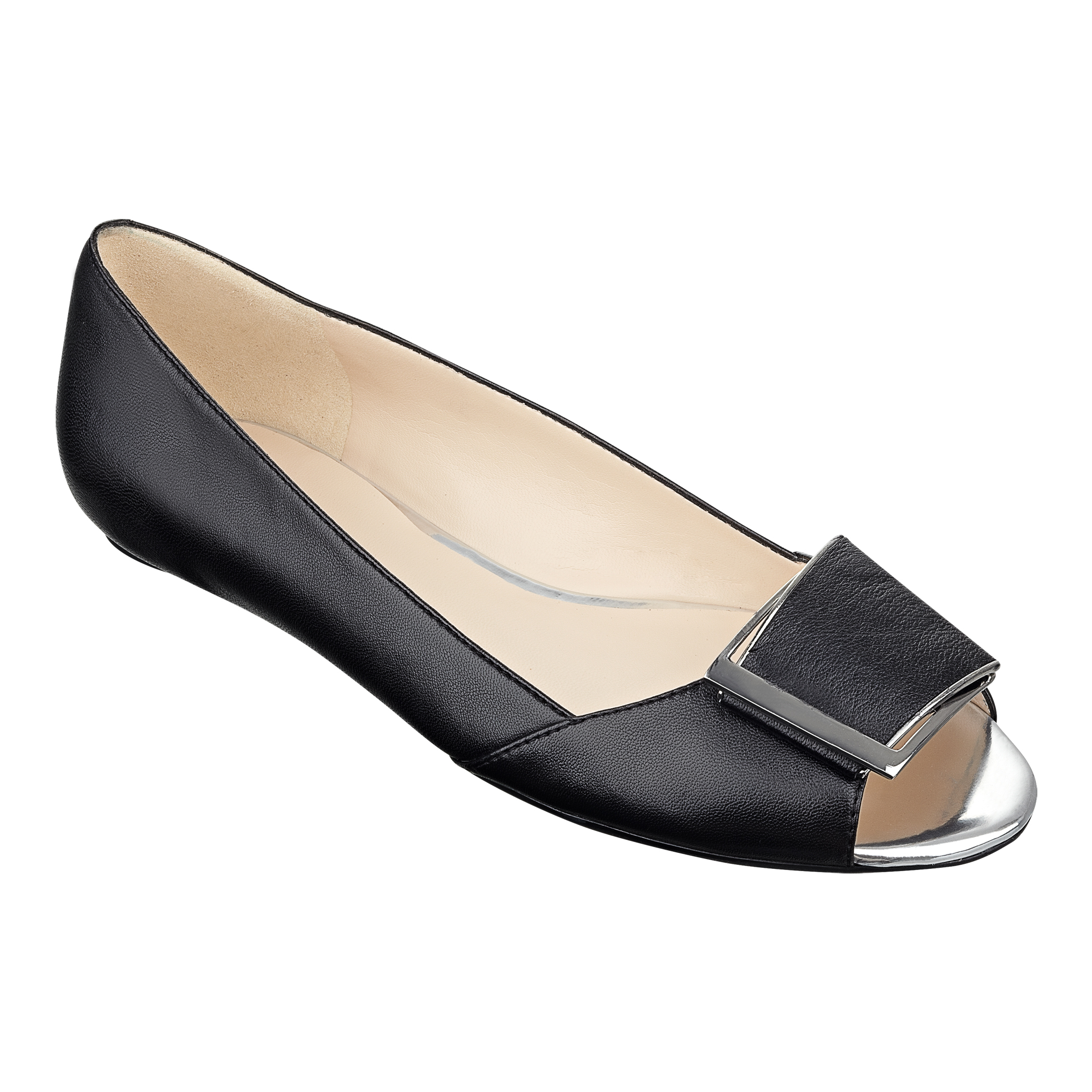 Aldo Black Peep Toe Flat Shoes