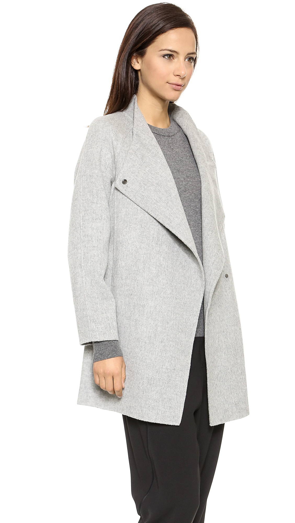 Vince Sweater Back Coat - Light Heather Grey in Gray | Lyst
